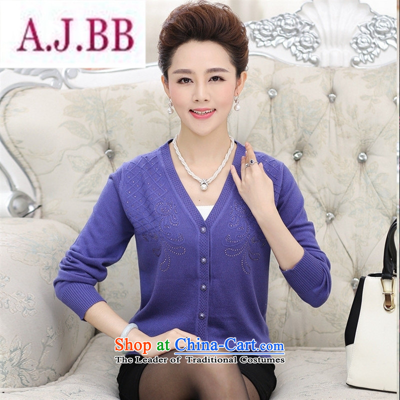 Ya-ting and fashion boutiques in new elderly women fall inside larger MOM pack sweater knitting cardigan jacket V-neck a middle-aged man jacket blue