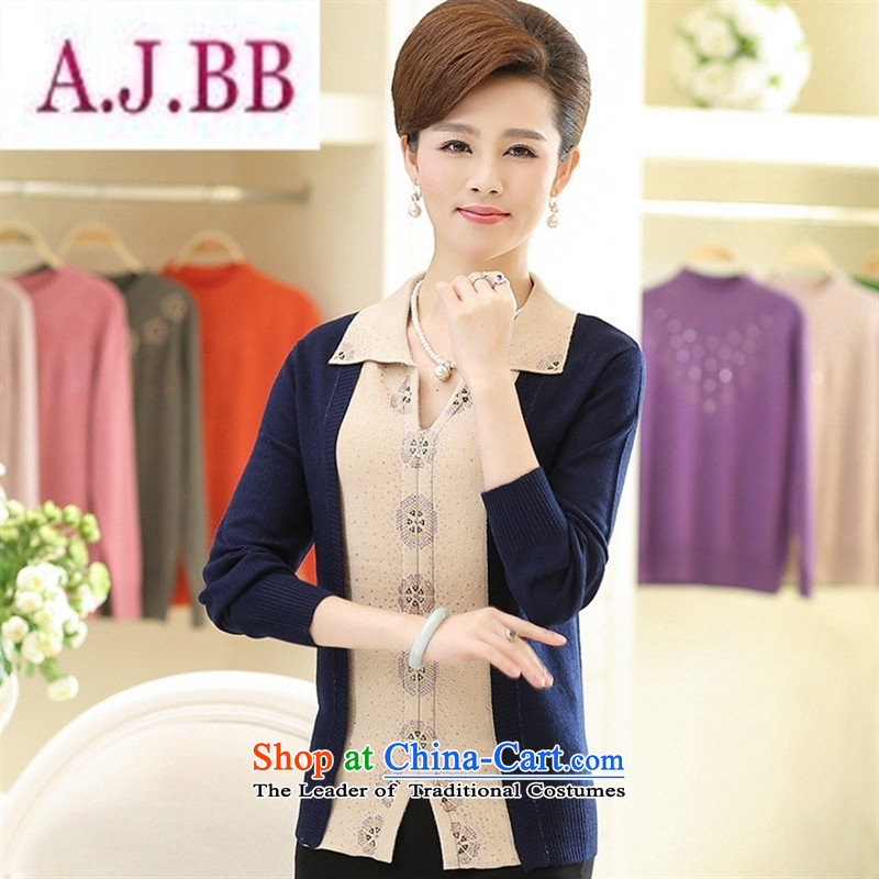 Ya-ting and fashion boutiques in the autumn of 2015, the new solid diamond long-sleeved T-shirt and stylish middle-aged moms replacing reverse collar Knitted Shirt female Blue�5