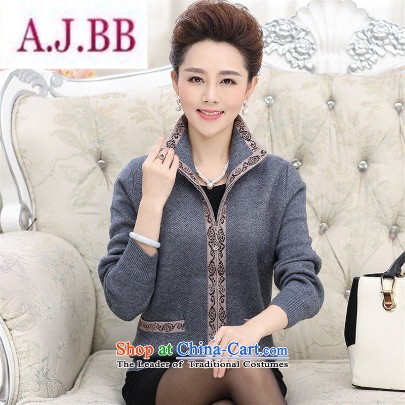 Ya-ting and fashion boutiques in older women fall inside the lapel new knitting cardigan large middle-aged long-sleeved T-shirt mother blouses Red�110