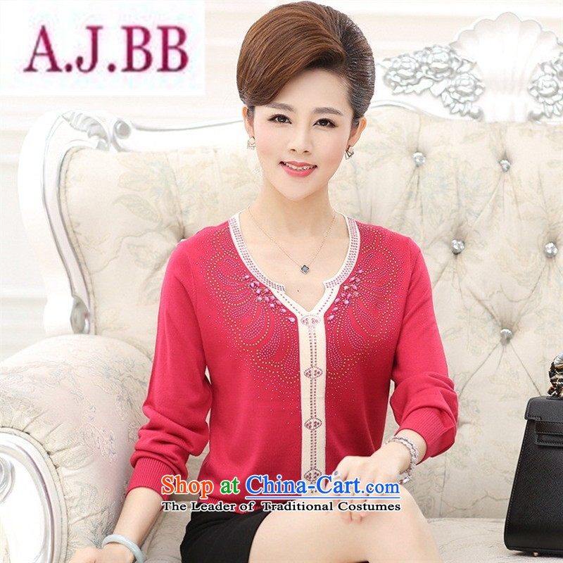 Ya-ting and fashion boutiques in older women wear long-sleeved replacing large autumn T-shirt with new products in the autumn mother ironing drill V-Neck Knitted Shirt large red�115