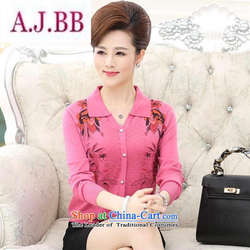 Ya-ting stylish shops 2015 Autumn replacing new products mother knitted blouses and middle-aged trendy lapel pin wear thin tee shirt color and�5 female