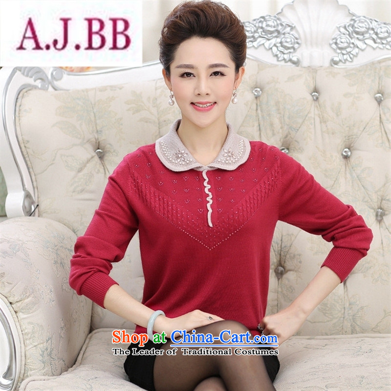 Ya-ting and fashion boutiques new stylish and simple to the elderly in the knitwear mother Dressed Dolls collar long-sleeved spell color diamond Sau San sweater, wine red�0