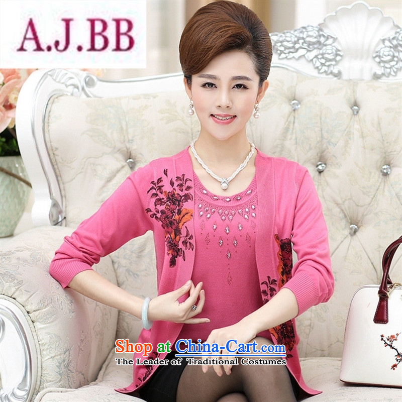 Ya-ting and fashion boutiques autumn 2015_ in new women's older version stamp nail-ju won two kits leave large Knitted Shirt with pink Mother�5