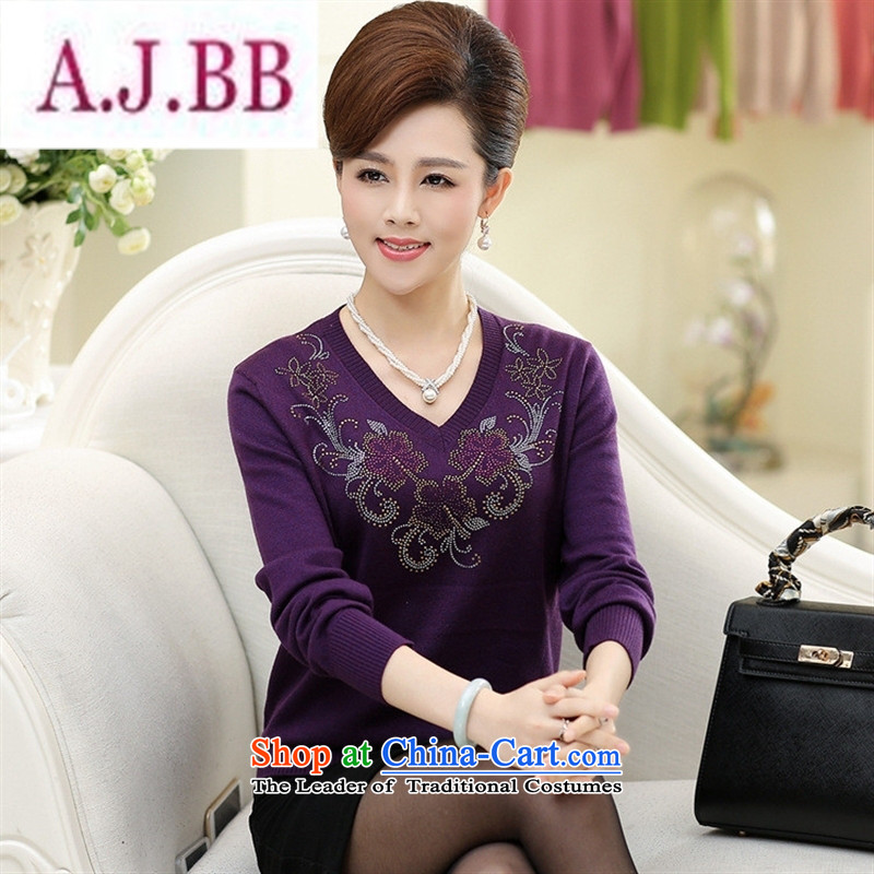 Ya-ting stylish shops 2015 new products in the autumn and winter older mother replacing sweater ironing drill female flowers V-Neck knitted shirts, forming the basis for larger T-shirt Orange Red�0