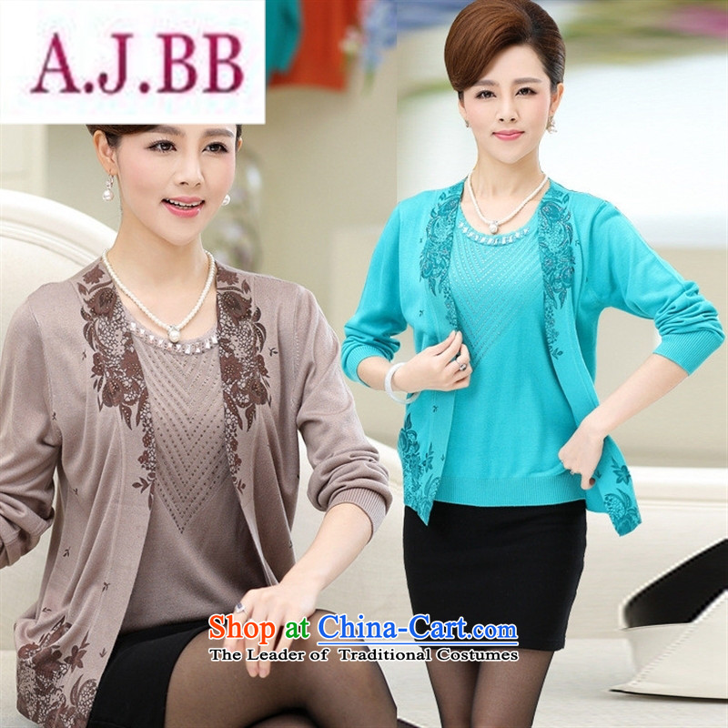 Ya-ting and fashion boutiques in 2015, larger older women fall new moms knitted jacket leave two stamp t-shirt, jacket and color聽120