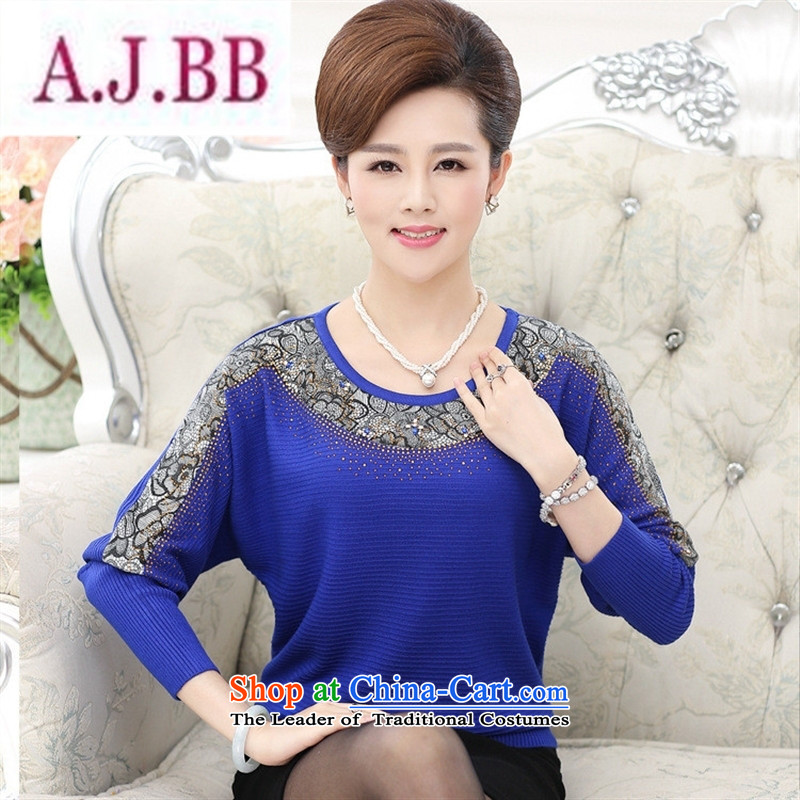 Ya-ting and fashion boutiques in older women's 2015 Autumn replacing large stylish long-sleeved T-shirts mother middle-aged women bat sleeves Knitted Shirt Blue�5