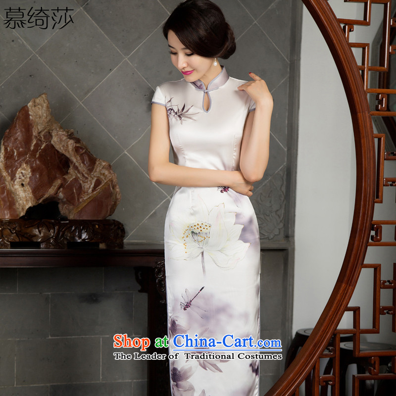I should be grateful if you would have the cross-sa?2015 temperament retro candidates qipao long load autumn improved cheongsam dress in long long cheongsam dress new?T 11025?White?XL