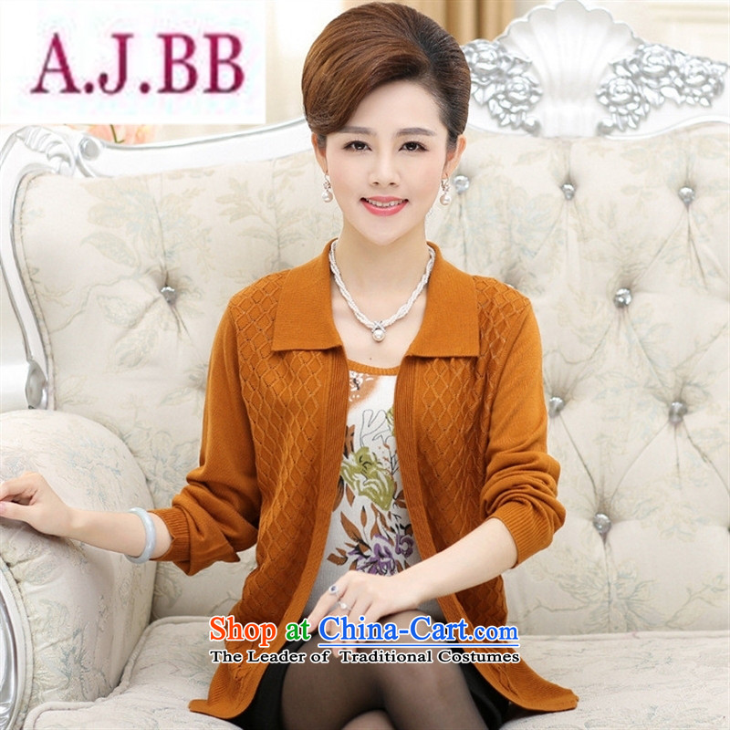Ya-ting and fashion boutiques autumn 2015_ in new women's older version stamp nail-ju won two kits Knitted Shirt larger Mother Women's clothes purple?115