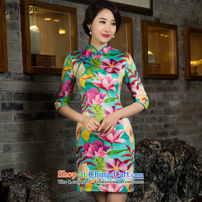 The cross-century Nigeria?2015 improvements Elizabeth qipao autumn in the skirt new cuff qipao retro improved cheongsam dress?11029 T?SUIT?XL