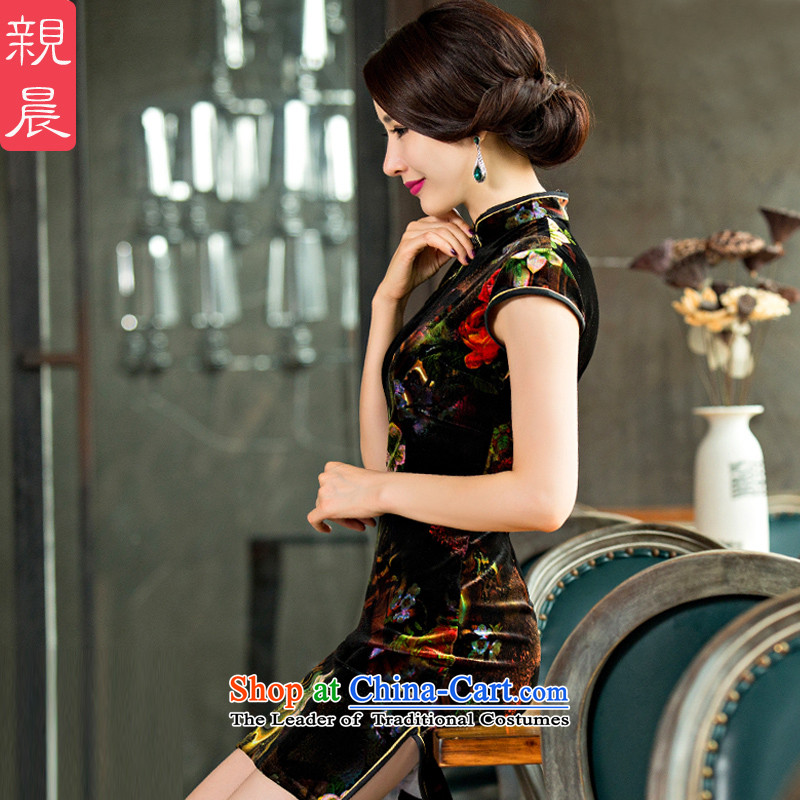 Replace wedding upscale Gold Mother velvet cheongsam dress the summer and autumn of 2015 the new dresses short of pro-morning picture color?2XL