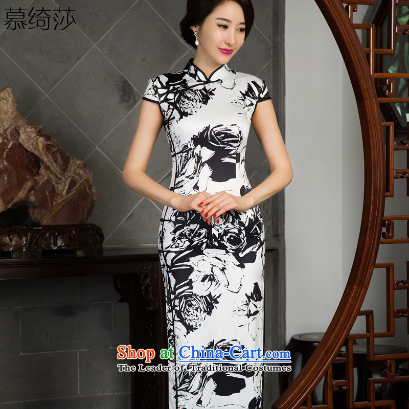 The cross-Sa paper and ink?pack cheongsam dress autumn 2015 new retro improved cheongsam dress long ethnic long cheongsam dress?T12021?picture color?S