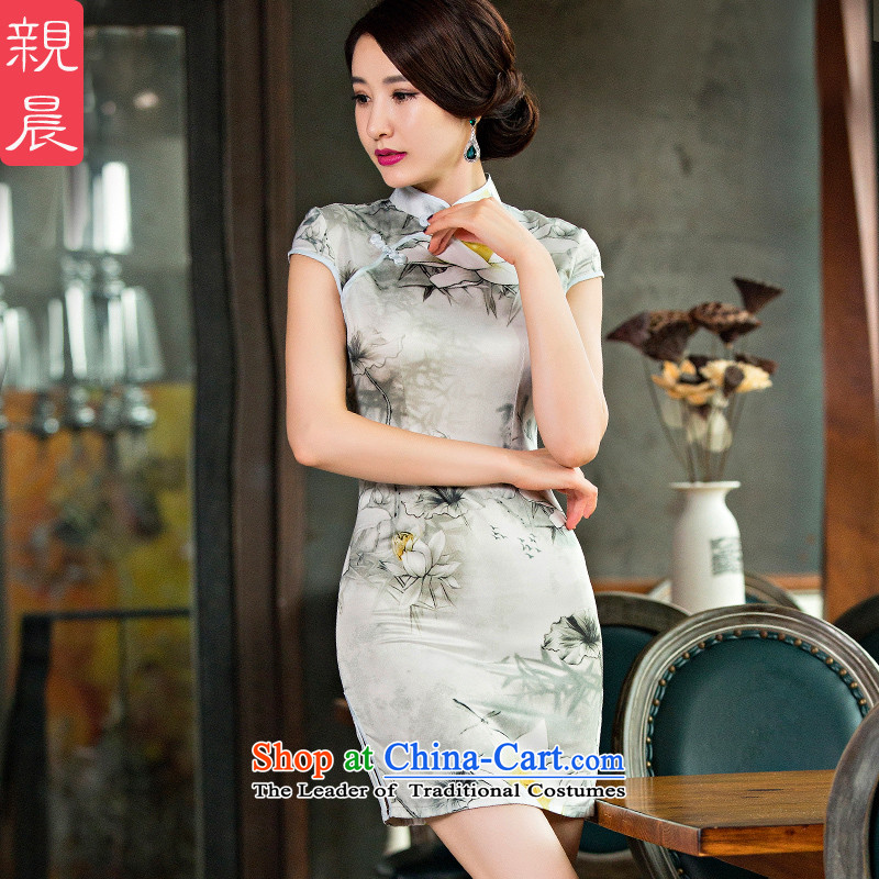 At 2015 new parent cheongsam dress summer retro improved summer daily short of Sau San dresses cheongsam dress photo color�L