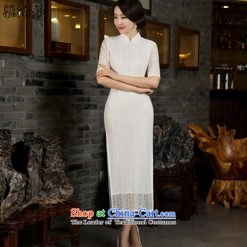 The cheer Elizabeth Yu Beauty�2015 long load retro qipao qipao autumn skirt in new cuff lace improved cheongsam dress�T12028�White�M