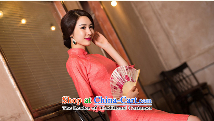 The cross-sha red-聽2015. Long qipao fall inside fine linen 7 cuff qipao skirt new retro improved cheongsam dress聽T Inland Lot No. 11076聽watermelon red聽XL Photo, prices, brand platters! The elections are supplied in the national character of distribution, so action, buy now enjoy more preferential! As soon as possible.