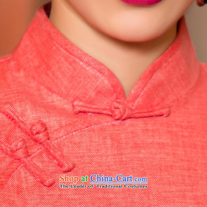 The cross-sha red-聽2015. Long qipao fall inside fine linen 7 cuff qipao skirt new retro improved cheongsam dress聽T聽RED聽XL, the Inland Lot No. 11076 watermelon Yee-sa , , , shopping on the Internet