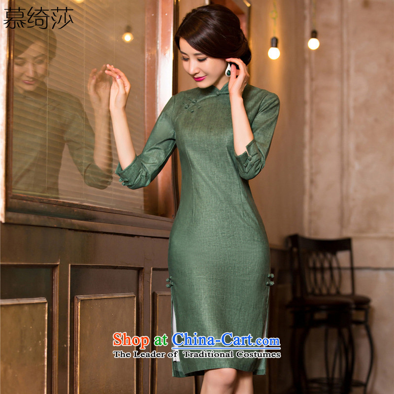 The cross-sa?2015 Autumn load increase green retro cheongsam dress new improved cheongsam dress 7 cuff linen arts 7 Cuff?T11007?GREEN?S