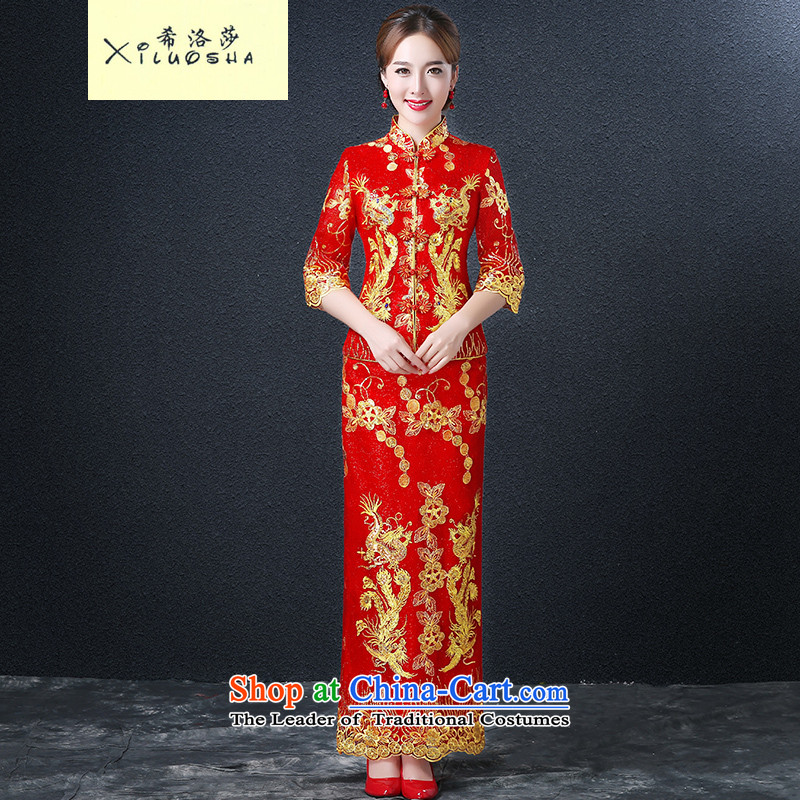 Hillo XILUOSHA_ Lisa _bride bows services fall, Wedding Dress long red dragon use marriage qipao gown bows chinese red color聽M