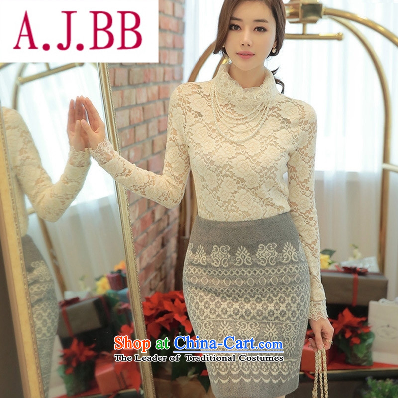 Ya-ting stylish shops fall 2015 new aristocratic wind elegance women spend the engraving high collar forming the top female lace white shirt燲XL