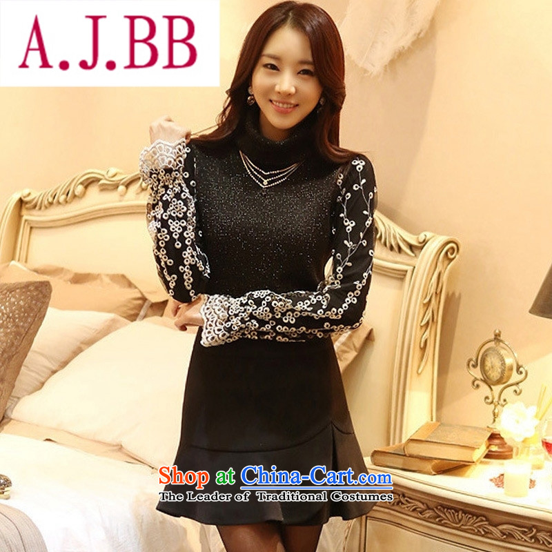Ya-ting stylish shops 2015 Autumn replacing the new Korean long-sleeved blouses and Dongdaemun tick spend long-sleeved shirt, forming the engraving female T-shirt female black M