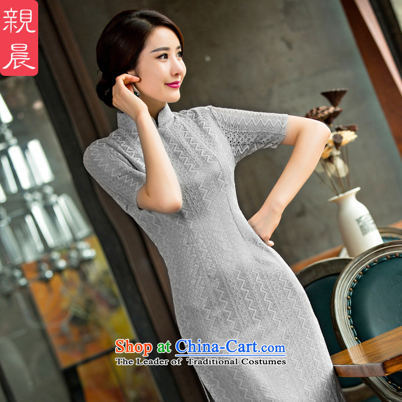 The pro-am long in the spring and autumn cuff lace new products Sau San, national retro long skirt daily improved cheongsam dress Silver Gray?L
