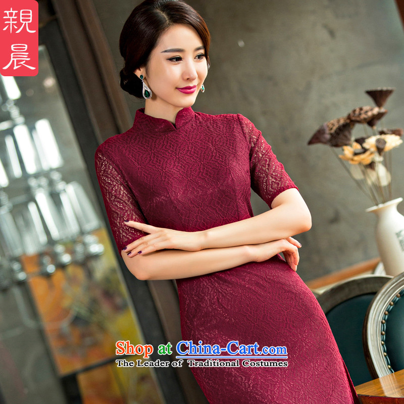 At 2015 new pro-retro-day long Sau San improvements improved lace cheongsam dress female new summer wine red�L