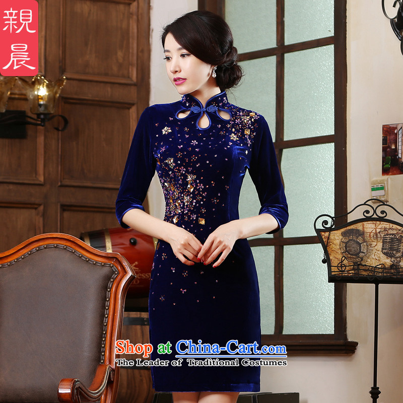 Wedding wedding dresses mother replacing Kim velvet older new short of 2015 Summer female blue聽4XL