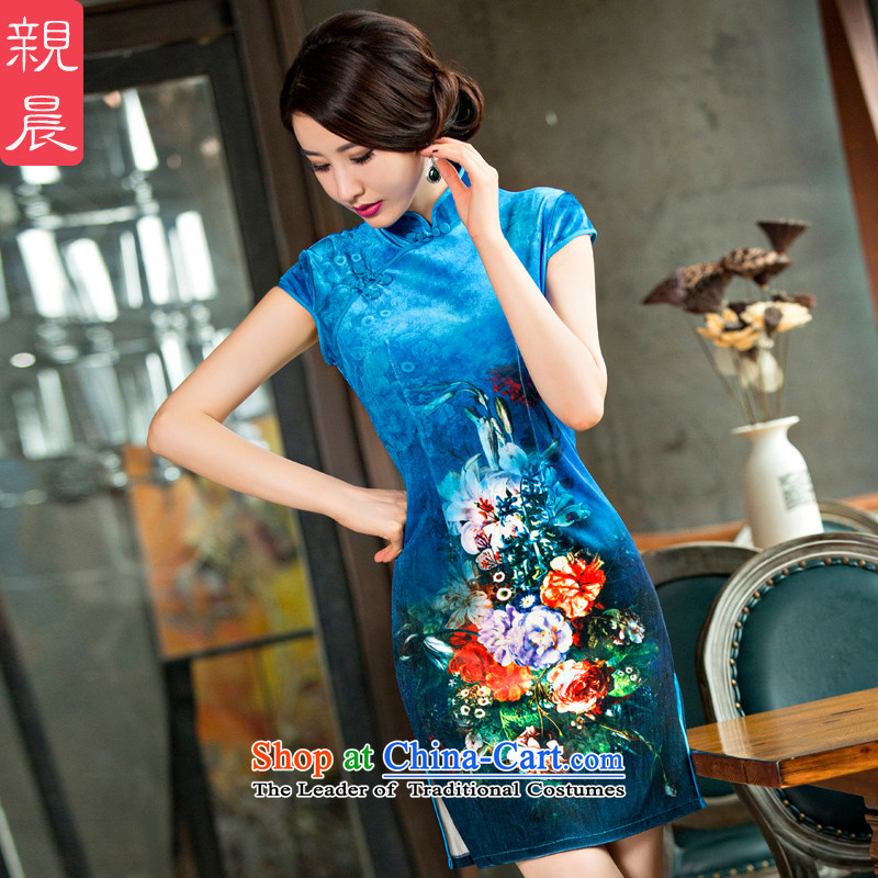 The summer and fall of wedding dress wedding dresses, scouring pads in the new 2015 older mother with retro female dresses Blue?M