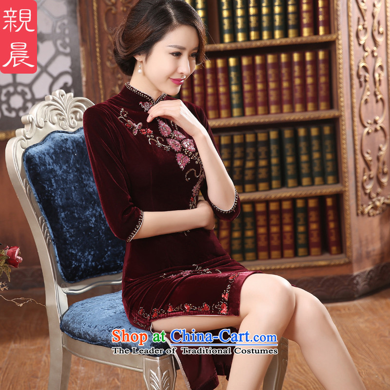 Gold velour cheongsam dress wedding dress wedding mother in old age by 2015 the new summer and fall in long�L wine red