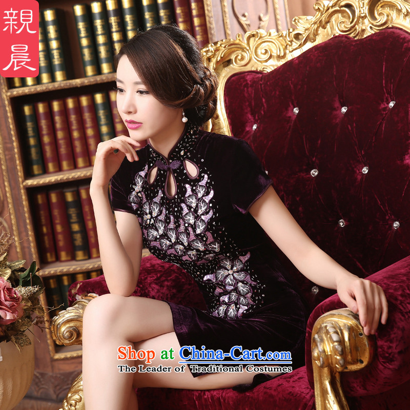 Gold velour cheongsam dress wedding dress in mother older dresses pro-am 2015 new summer and fall short of short,�L