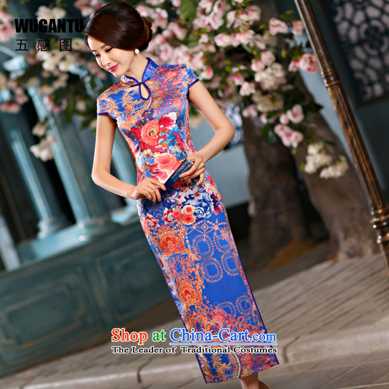 The five senses figure Choo stylish improved long cheongsam dress upscale silk China wind ethnic Blue Monster-hee picture color�XXL