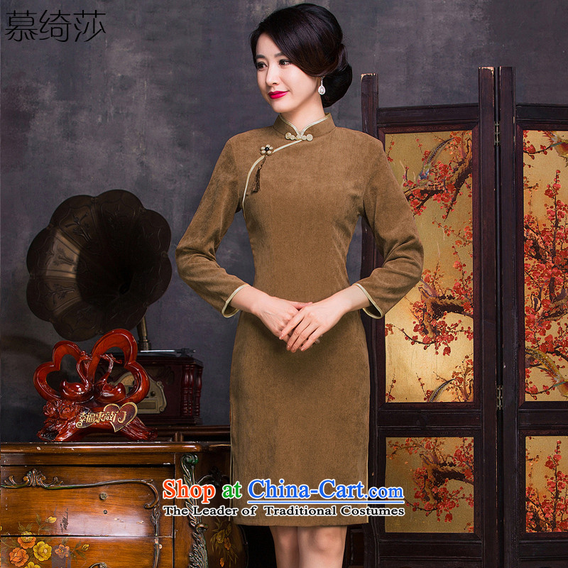 The cross-SA?2015. The spirit of the long corduroy improved cheongsam with 7 cuff autumn retro cheongsam dress new cheongsam dress?QD314?khaki? 2XL