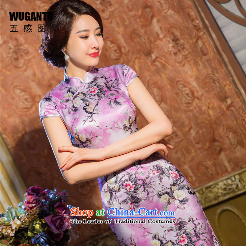 The five senses figure new fall short-sleeved purple Silk Cheongsam noble bright colors and stylish improved Sau San qipao energy picture color M