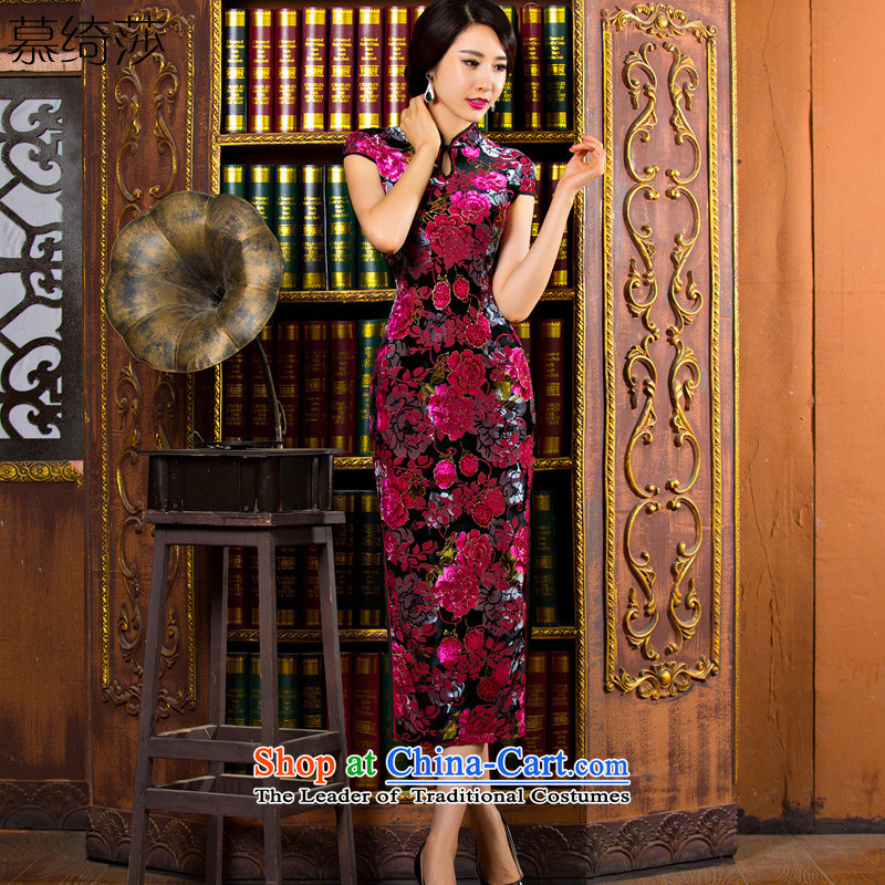 The cross-sa bustling?2015 autumn and winter scouring pads in older qipao Kim dress daily retro improved cheongsam dress mother replacing cheongsam dress?T01?in red?S
