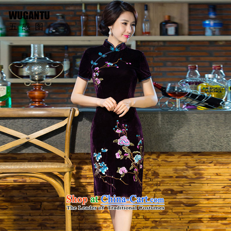 The five senses Figure Boxed new moms autumn wedding Kim scouring pads retro dresses improved evening dress short skirt purple qipao聽XL