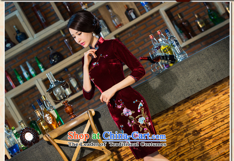 The five senses figure for autumn and winter by new moms with scouring pads in the skirt qipao Kim sleeve length) Improved retro wedding black聽XXL picture, prices, brand platters! The elections are supplied in the national character of distribution, so action, buy now enjoy more preferential! As soon as possible.
