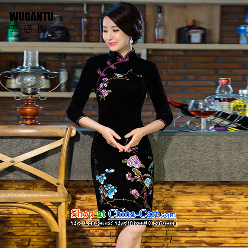 The five senses figure for autumn and winter by new moms with scouring pads in the skirt qipao Kim sleeve length_ Improved retro wedding black聽XXL