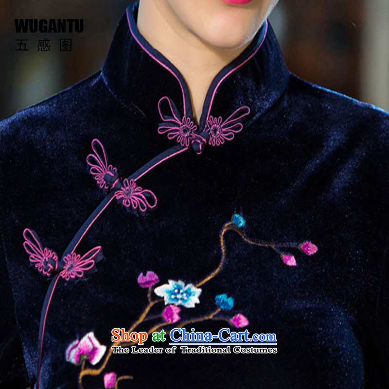 The five senses figure for autumn and winter by new moms with scouring pads in the skirt qipao Kim sleeve length) Improved retro wedding black聽XXL, Five-sense figure (WUGANTU) , , , shopping on the Internet