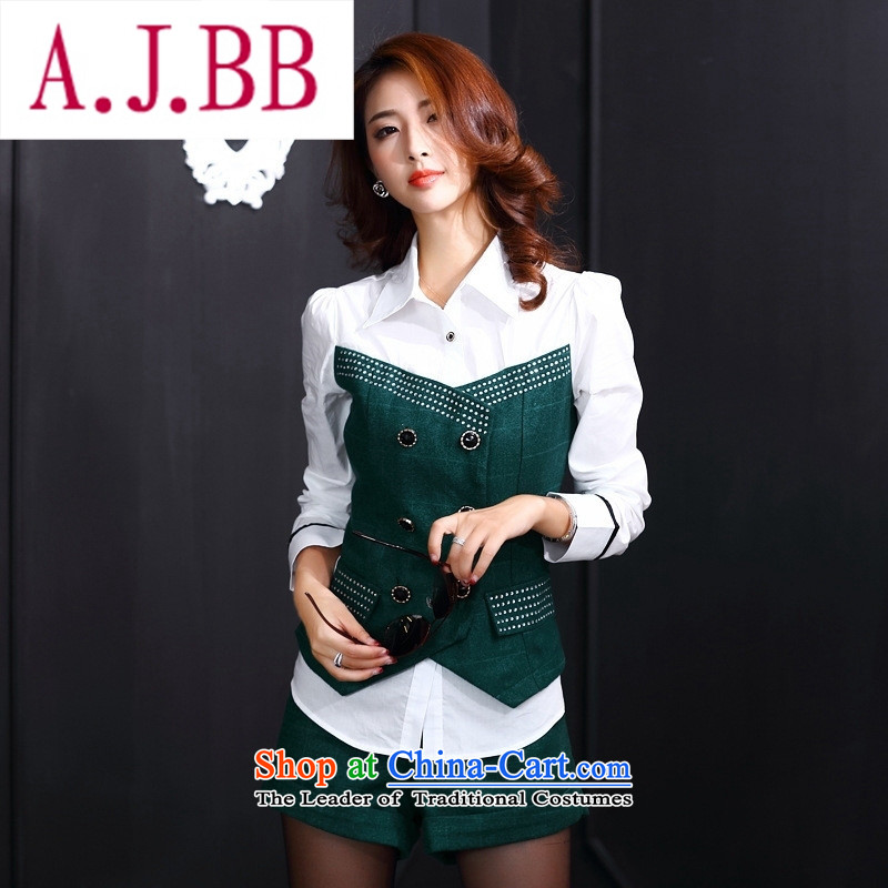 Ya-ting and fashion boutiques European site new_ Autumn 2015 Sau San video thin stylish round-neck collar long-sleeved blouses temperament and sexy shorts two kits green燲L