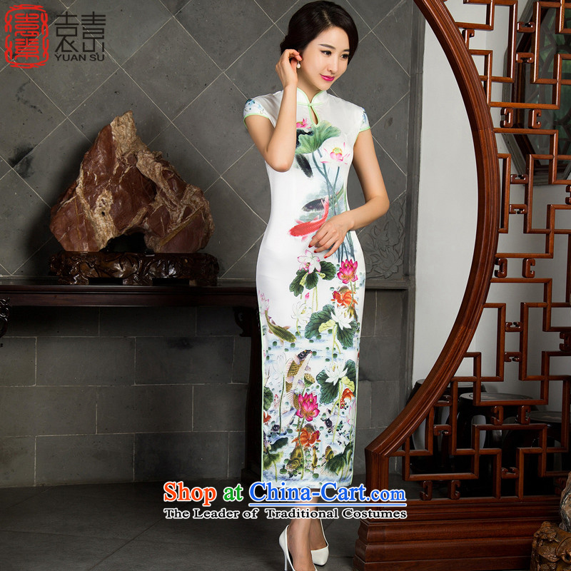 Yuan of water fall 2015 Ms. long cheongsam with retro look long cheongsam dress new improved cheongsam dress M10016 White M