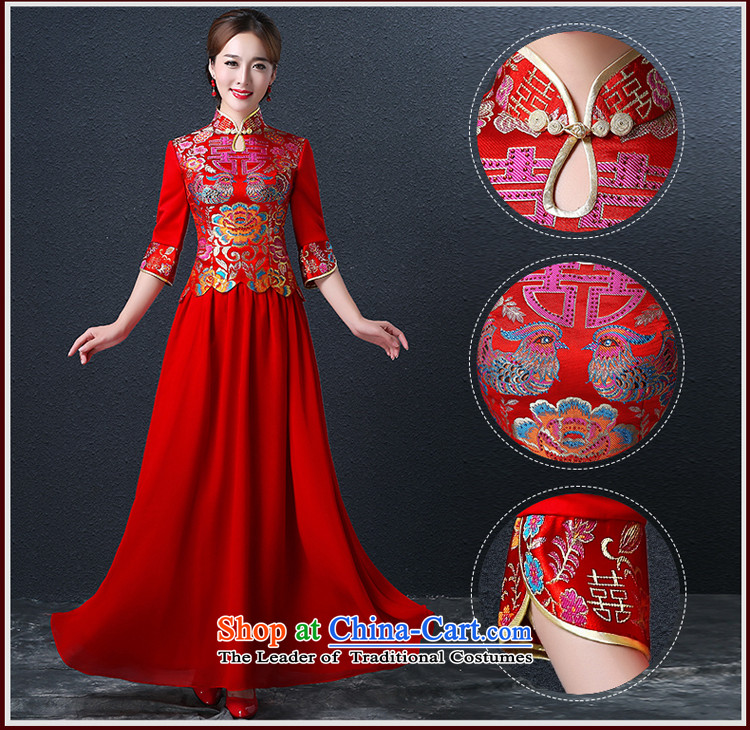 Hillo XILUOSHA) Lisa (qipao skirt bows services marriage long Chinese style wedding dresses dress bride 2015 new wedding dress red redL picture, prices, brand platters! The elections are supplied in the national character of distribution, so action, buy now enjoy more preferential! As soon as possible.