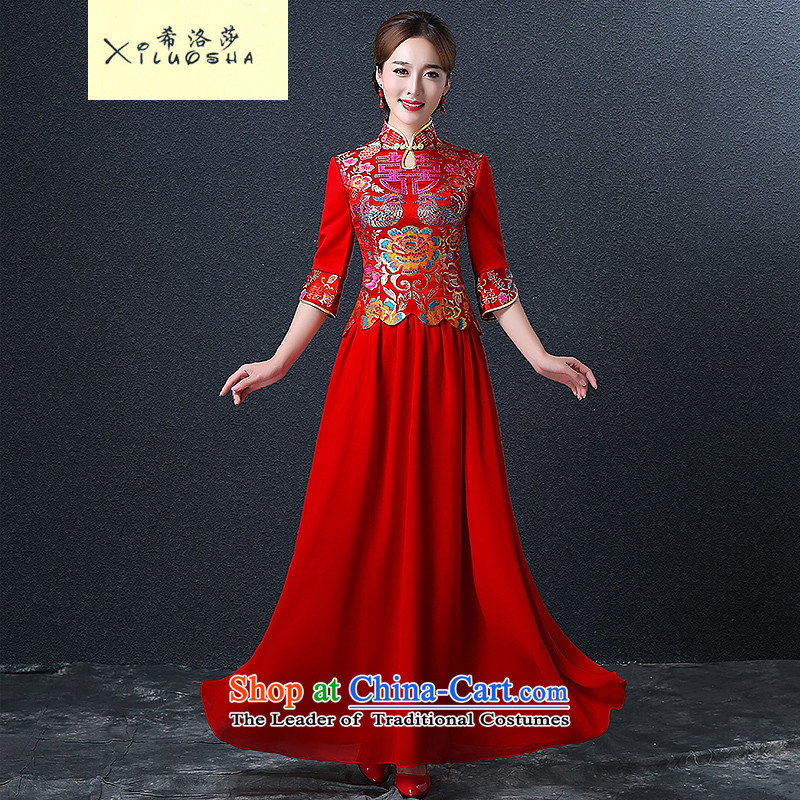 Hillo XILUOSHA) Lisa (qipao skirt bows services marriage long Chinese style wedding dresses dress bride 2015 new wedding dress red red , L HILLO Lisa (XILUOSHA) , , , shopping on the Internet