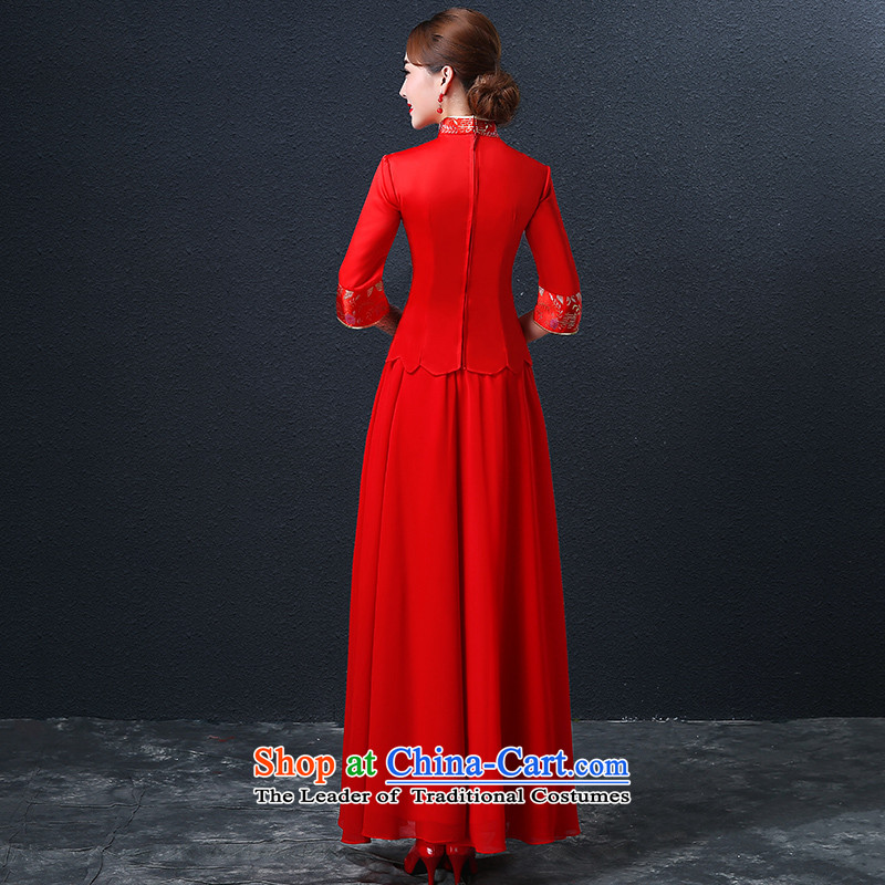 Hillo XILUOSHA) Lisa (qipao skirt bows services marriage long Chinese style wedding dresses dress bride 2015 new wedding dress red red, L HILLO Lisa (XILUOSHA) , , , shopping on the Internet