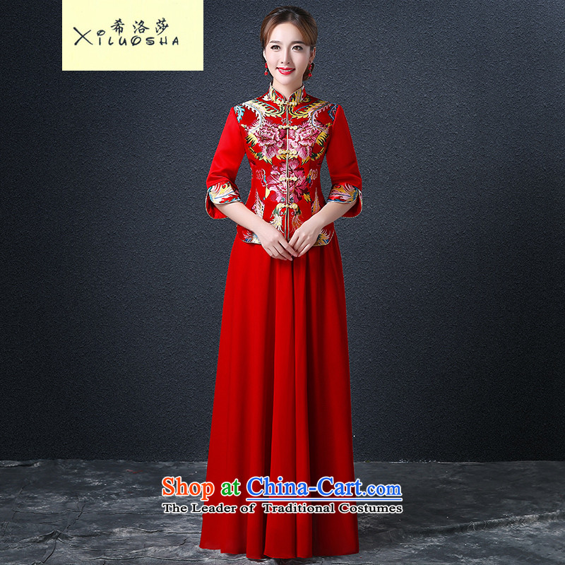 Hillo XILUOSHA) Lisa (bride qipao autumn wedding dress Chinese bows chief) cuff cheongsam dress retro red new 2015 RED?M