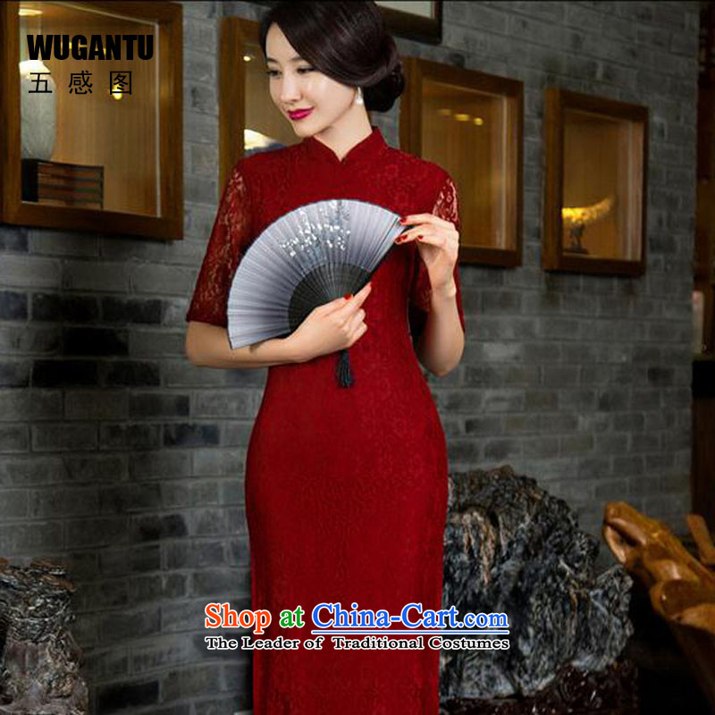 The five senses Figure Boxed New Long autumn qipao retro arts lace long qipao Sau San sexy dresses graceful white wedding dress red L