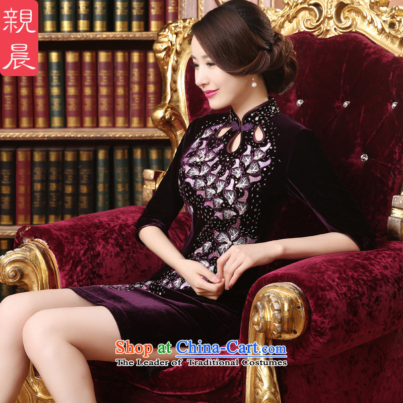 Kim in large scouring pads older wedding-dress in MOM skirt qipao cuff in long summer and fall of 2015 New short)?3XL