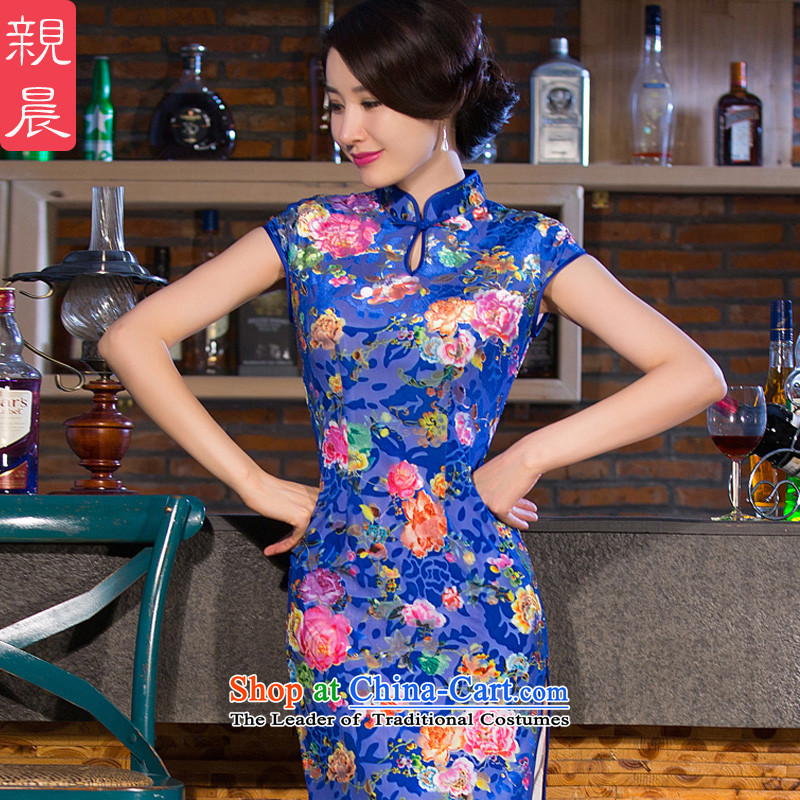 The wedding-dress wedding Kim long cheongsam dress velvet dresses in older female pro-morning in summer and autumn 2015 New Blue M