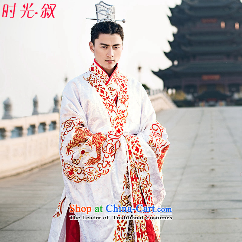 Time Syrian Fan Bing Bing ancient clothing with embroidered dragon embroidered on white Empress Wu Bong-hee-marriage solemnisation services with Queen's Wu dragon robe men tailored