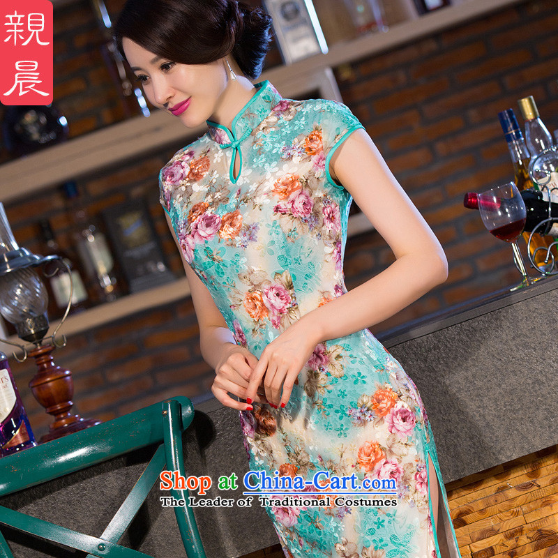 The wedding-dress Kim scouring pads cheongsam dress in the summer and autumn of 2015, with new moms older long green?M