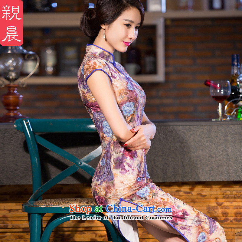 The new summer and fall of 2015 Kim scouring pads wedding-dress cheongsam dress girl mothers in the long older purple?M