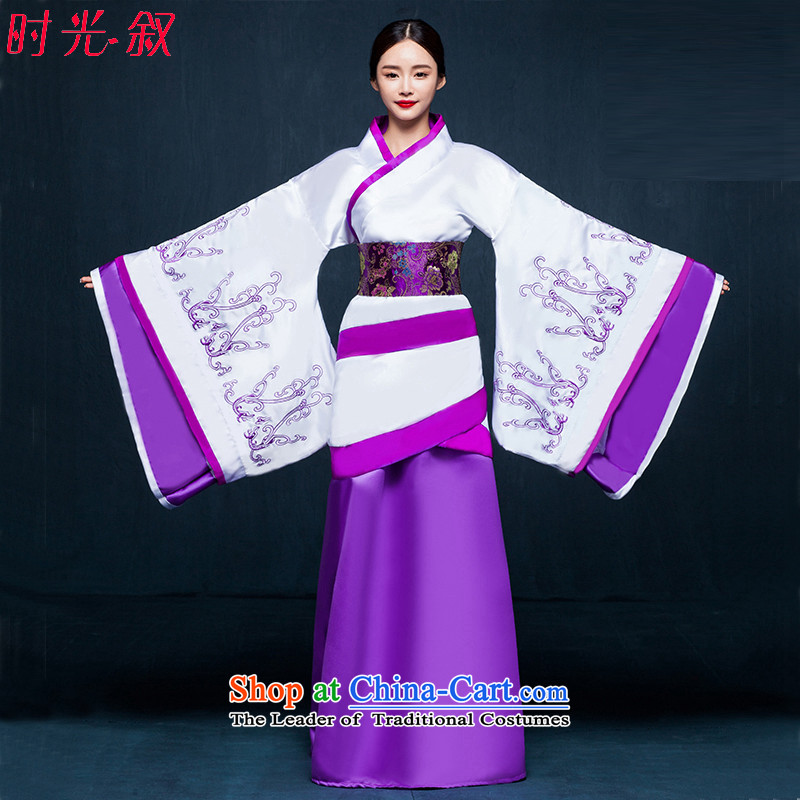 Time Syrian women's Han-han-track civil cos costume female princess improved Han-fairies photo album you can multi-select attributes by using a light purple clothes ancient dress photo building are suitable for 160-175cm code